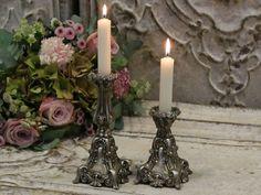 Chic Antique,silber, Kerzenständer,Leuchter,Landhausstil,Shabby Chic