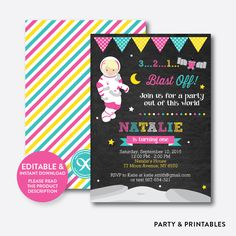 Astronaut Girl Ch... http://partyandprintables.com/products/astronaut-girl-chalkboard-kids-birthday-invitation-editable-instant-download-ckb-67b?utm_campaign=social_autopilot&utm_source=pin&utm_medium=pin #partyprintables #birthdayinvitation #partysupplies #partydecor #kidsbirthday #babyshower