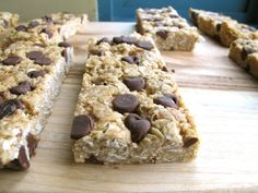Chewy Chocolate Chip Granola Bars - I'd sub maple syrup for the honey due to a honey allergy.