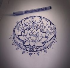 31 of the Prettiest Mandala Tattoos on Pinterest | Lunar Phase Lotus by Martha Jean Sandy Crocker
