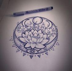 31 of the Prettiest Mandala Tattoos on Pinterest | Lunar Phase Lotus by Martha Jean Sandy Crocker