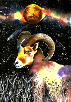 "Original watercolor paiting ""Goat from Mars"" by CravinaStudio on Etsy"