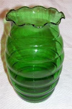 Vintage Anchor Hocking Glass Forest Green Beehive Vase | eBay