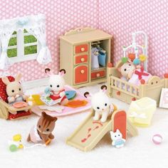 Set LIVING ROOM Deluxe With Fireplace Working SYLVANIAN FAMILIES 5037 Epoch