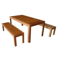 Mimosa 3 Piece Timber Bench Setting Bunnings Warehouse