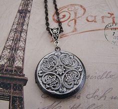 Silver Necklace Locket, Medallion, Wedding, Fancy Connector, Dark Antique Silver, Long Chain - Raquel. $29.00, via Etsy.