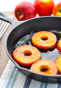 Southern Fried Apples are a simple side dish or light dessert, and they're ready in 15 minutes! Cinnamon, sugar and butter turn the fresh fruit into a delicious, down-home treat! Green Apple Recipes, Apple Recipes Easy, Easy Delicious Recipes, Fruit Recipes, Side Dish Recipes, Delicious Desserts, Cooking Recipes, Dessert Recipes, Hot Desserts