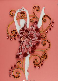 Items similar to Young Girl Ballet Dancer Handmade Beautiful Quilling Paper Greeting Art Girl Room Decor on Etsy Paper Quilling Tutorial, Paper Quilling Patterns, Quilling Paper Craft, Paper Crafts Origami, Quilling Cards, Quilling Designs, Quilling Dolls, Arte Quilling, Creative Crafts