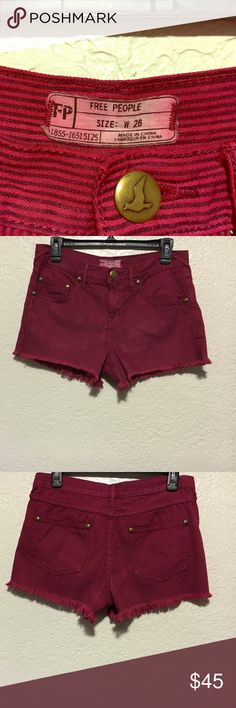 Free People Denim Cutoff Shorts I am selling Free People Red Striped Denim Cutoff Shorts size 26. Excellent Condition! They were hardly worn and look brand new. Free People Shorts Jean Shorts
