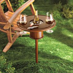 This Outdoor Wine Table and Wine Glass Holder is the perfect Summertime Wine Accessory.