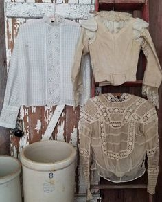 Lot of 3 Antique Victorian Prairie Blouses Tops ~ Study Display Pattern Antique Clothing, Online Price, Victorian, Study, Blouses, Display, Antiques, Best Deals, Lace