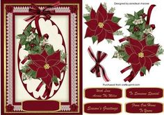 Lovely red Poinsettias on lace on Craftsuprint - Add To Basket!