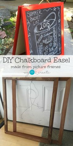 Create your own chalkboard art signs for any event with this SUPER easy DIY Chalkboard Easel made from some old picture frames!  From MyLove2Create
