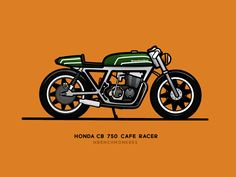 CB 750 - Cafe Racer - Wrenchmonkees designed by Daniel Herron. Connect with them on Dribbble; Cb 750 Cafe Racer, Cafe Racer Parts, Cafe Racer Style, Motorcycle Logo, Motorcycle Clubs, Motorcycle Style, Bike Icon, Bike Sketch, Bike Drawing