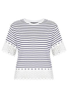 Stripe lace panel tee