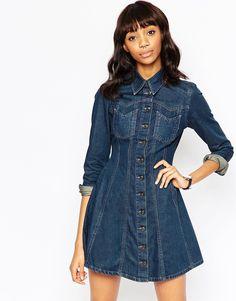 Image 1 ofASOS Denim Western Shirt Dress with Flippy Skirt