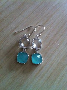 Crystal and Mint Glass Stones Dangle Earrings with by RainbowKnit, $28.00