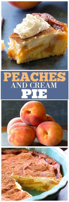 Peaches and Cream Pie - The Girl Who Ate Everything This Peaches and Cream Pie has a tender peach cake layer topped with a cream cheese cinnamon mixture. This Peaches and Cream Pie is no-fail dessert and a great way to use up those peaches. Summer Desserts, Just Desserts, Delicious Desserts, Yummy Food, Lemon Desserts, Cronut, Pie Dessert, Dessert Recipes, Appetizer Dessert