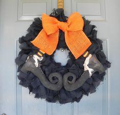 Burlap Halloween Wreath  with Primitive Witch by RedRobynLane, $70.00