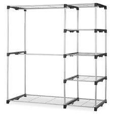 Portable Closet Storage Wardrobe Rack Clothes Garment Organizer Dbl Rod Shelves