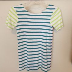 French Connection Top French Connection Top. Work twice - great condition. Scoop neck in the back. Front color is teal-ish, sleeves are lime, and back is navy. No trades, no PayPal. French Connection Tops