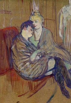 Toulouse-Lautrec, Henri, The Two Girlfriends 1894 Oil on cardboard 48 x cm Musee Toulouse-Lautrec, Albi Henri De Toulouse Lautrec, Art Nouveau, Art Français, French Artists, Famous Artists, Van Gogh, Painting & Drawing, Art History, Modern Art