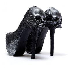 "Skulls:  #Skulls ~ The Zombie Peep Show ""Purgatory'"" black pumps."