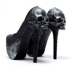 "Skulls:  #Skulls ~ The Zombie Peep Show ""Purgatory'"" black pumps."