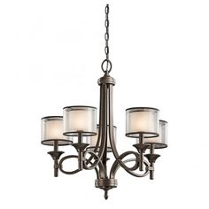 5 Light Bronze Chandelier with Mesh Screen Shades and Opal Inner Glass