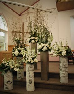 White winter ceremony decor by village vines florists - www. Rustic Flower Arrangements, Rustic Flowers, Wedding Arrangements, Wedding Centerpieces, Church Wedding Decorations Rustic, Altar Decorations, Wedding Rustic, Decor Wedding, Wedding Reception