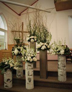 Village Vines Blog : Behind the Scenes: White winter ceremony decor by Village Vines florists - www.villagevinesflorists.com