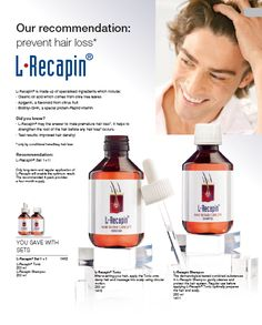 """""""L-Recapin""""  L-Recapin® is made up of specialised ingredients which include:  Oleanic oil acid which comes from olive tree leaves  Apigenin, a flavonoid from citrus fruit  Biotinyl-GHK, a special protein-Peptid vitamin  Did you know?  · L-Recapin® may the answer to male premature hair loss. It helps to  strengthen the root of the hair before any hair loss occurs.  Test results: improved hair density! Lr Beauty, Hair Loss After Pregnancy, Hair Density, Prevent Hair Loss, Tree Leaves, Olive Tree, Did You Know, Vitamins, Protein"""