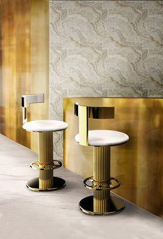 Die Barhocker oder Barstühl. Schöner Wohnen. Golden Barhocker von Essential Home. Luxus Esszimmer. die Essentials-Kollektion zwischen Bossa Nova Noten und geschüttelt, nicht gerührt Martini Getränke geformt. http://wohn-designtrend.de/