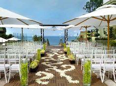 Afternoon Beach Wedding Ceremony with Umbrellas
