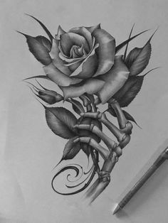 Lessons That Will Get You In The arms of The Man You love Rose Drawing Tattoo, Tattoo Sketches, Tattoo Drawings, Art Sketches, Skull Rose Tattoos, Rose Flower Tattoos, Body Art Tattoos, Skull Tattoo Design, Tattoo Designs