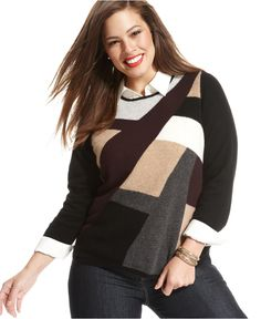 Charter Club Plus Size Sweater, Long-Sleeve Intarsia-Print Cashmere - Plus Size Sweaters - Plus Sizes - Macy's