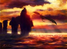 Hiccup and Toothless flying in the sunset