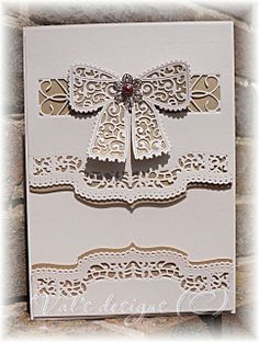 On pearlised ivory card. Dies are tattered lace bow, Spellbinders brackets borders, and Cheery Lynn Lucien tile Card Making Inspiration, Making Ideas, Tonic Cards, Crafters Companion Cards, Tattered Lace Cards, New Things To Try, Spellbinders Cards, Paper Crafts, Diy Crafts