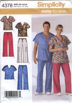 Simplicity 4378 Unisex Scrub Top and Pants Uniform