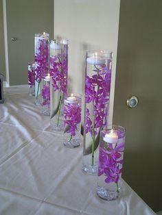 Purple Wedding Glass Decor.