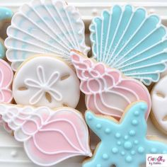 A week rarely goes by without some sweet baby cookies 💕 Summer Cookies, Fancy Cookies, Iced Cookies, Cute Cookies, Royal Icing Cookies, Cupcake Cookies, Cupcakes, Seashell Cookies, Mermaid Cookies