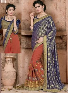 Blue Tomato Red Embroidery Work Georgette Jacquard Designer Half Sarees http://www.angelnx.com/featuredproduct