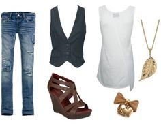 Double denim outfit - distressed jeans and a vest...but my legs have Never been that skinny! Get real