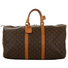 Preowned 1982 Louis Vuitton Brown Coated Monogram Canvas Vintage... ($821) ❤ liked on Polyvore featuring bags, luggage, brown and duffel bags