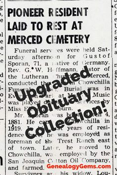 Find Your Ancestor's Obituary in this Improved Collection Obituaries are a staple of genealogical research. Here's what you need to know about the updated obituaries of your ancestors at Ancestry, along with tons of new free online genealogy records. Funeral Wishes, Find Your Ancestors, Cemetery Records, Vital Records, Marriage Records, Reference Book, University Of Georgia, Ancestry