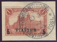 German Colonies, DP-Türkei 1900/04, 5 PIASTER (mit Dach) auf 1 Mk., Kabinett-Briefstück von Constantinopel, gepr. Bothe BPP (Bfst., Mi.-Nr.20 II/Mi.EUR 120,--). Price Estimate (8/2016): 40 EUR.