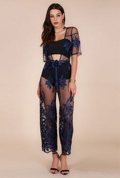 Dark Blue 'Eda' Floral Embroidered Lace Evening Gown