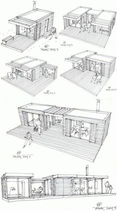 Modular Home Additions in rustic style >> The One house is a compact house design based on the principle of Legos – just add pieces to build on the structure. Each cottage-chic module measures and is prefabricated using local Swedish materials in a Container Architecture, Container Buildings, Container Home Designs, Rustic Coffee Shop, Coffee Shops, Coffee Coffee, Add A Room, Casas Containers, Compact House