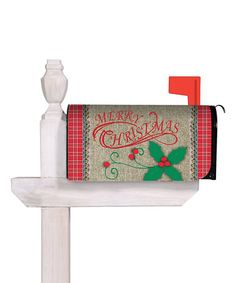 Another great find on #zulily! Burlap Holly 'Merry Christmas 'Mailbox Cover #zulilyfinds