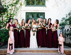 Burgundy Villa Wedding in San Juan Capistrano - Bridal party by Coralie Beatrix